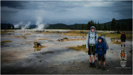 Picture of hiking near geysers in Yellowstone