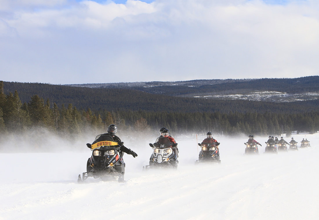 Picture of snowmobiles yellowstone permits national park